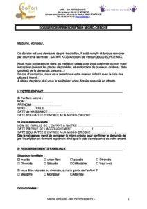 Dossier De Preinscription 10 Petits Doigts Micro Crèche 10 Petits